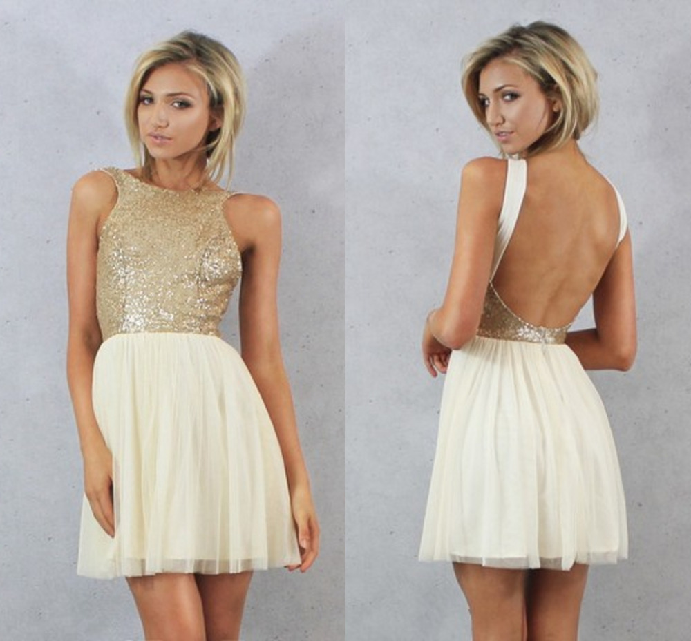 Charmming Short Chiffon With Top Champagne Gold Sequins