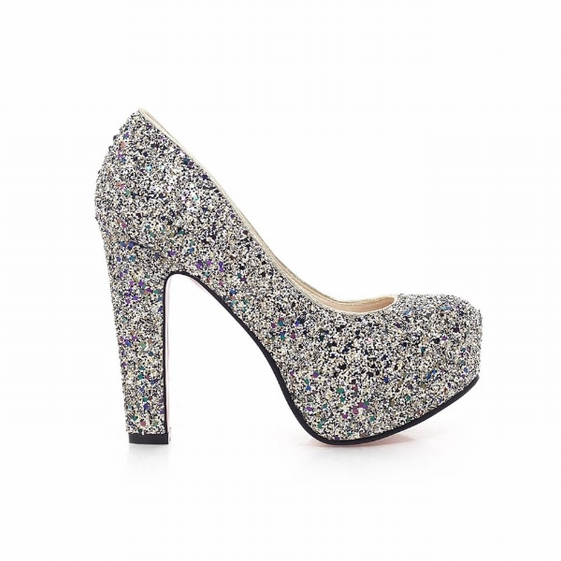 High Heels Glitter Wedding Shoes