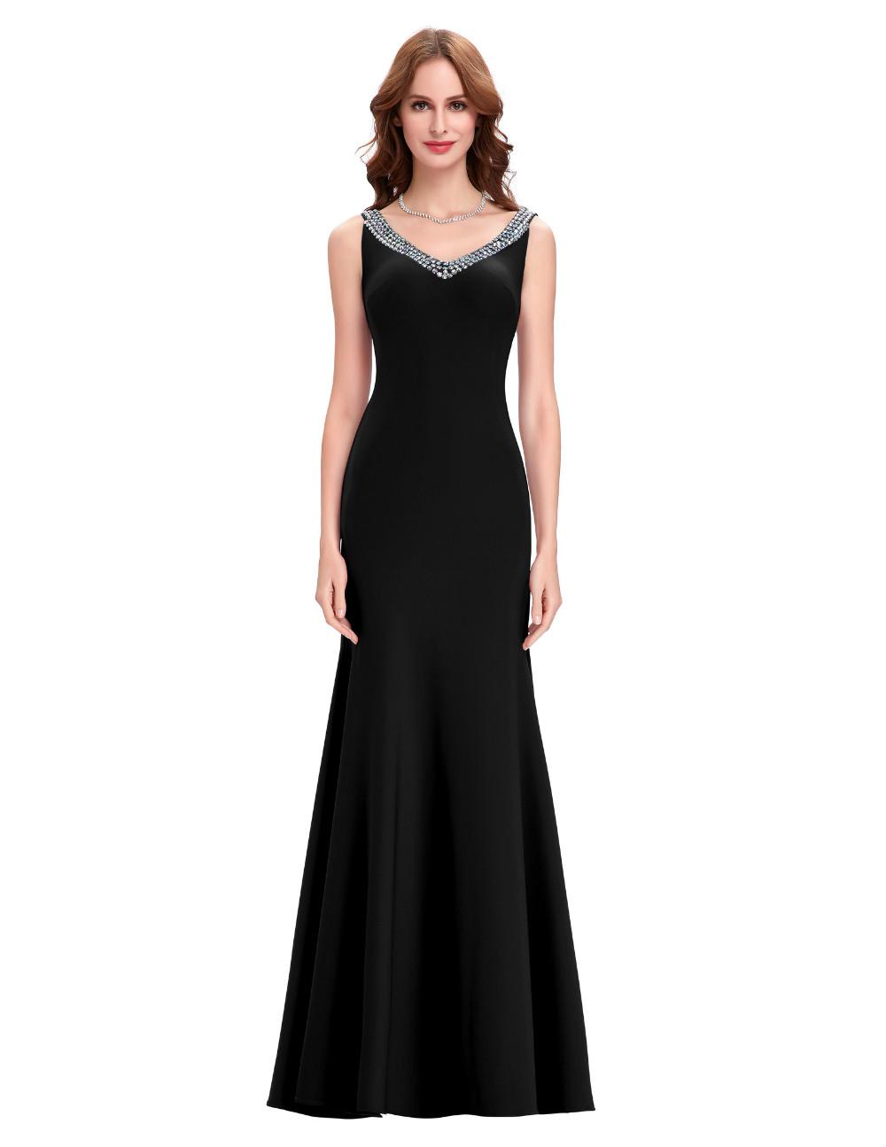 elegant backless long black evening bridesmaid dress my