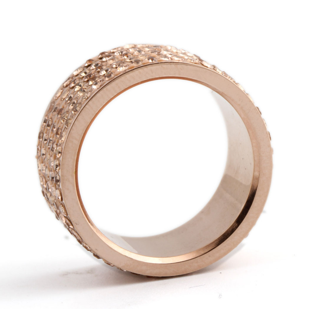 Rose gold plated stainless steel crystal wedding ring my for 5 golden rings decorations