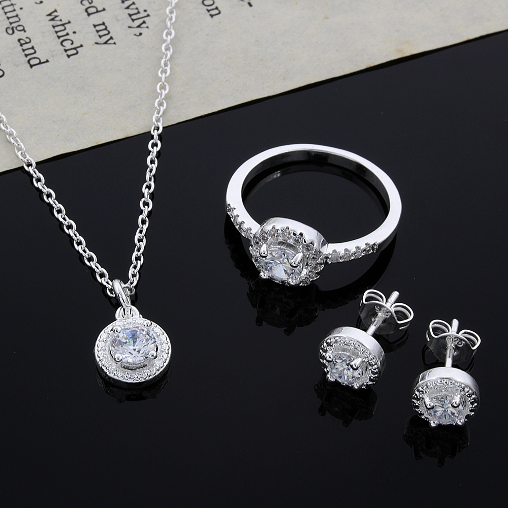 Silver Pendant Necklace Amp Ring Amp Earrings With Zircon