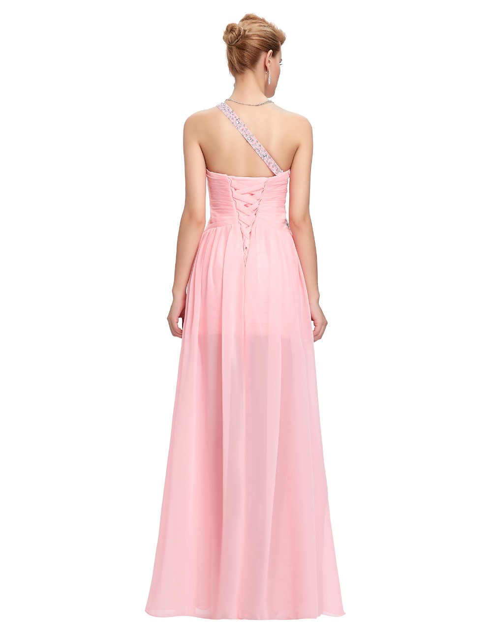 light pink beaded chiffon one shoulder short front long