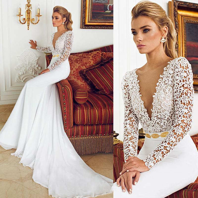 Deep V Neck With Long Sleeve Lace Mermaid Vintage Wedding