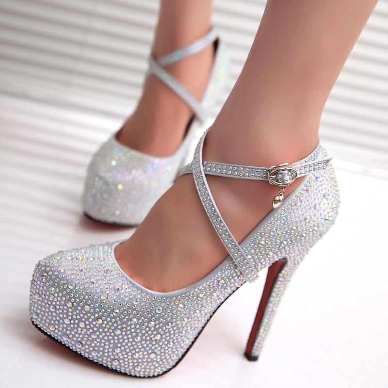 Silver Cinderella Crystal High Heels Wedding Party Diamond Pumps Shoes Size US