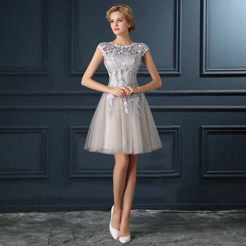 Silver Beach Wedding Dresses: Silver Gray Lace Up Short Evening Bridesmaid Dress