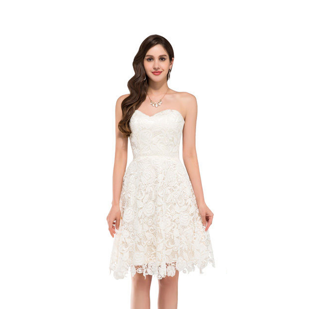 Ivory Vintage Lace Short Beach Wedding Dress