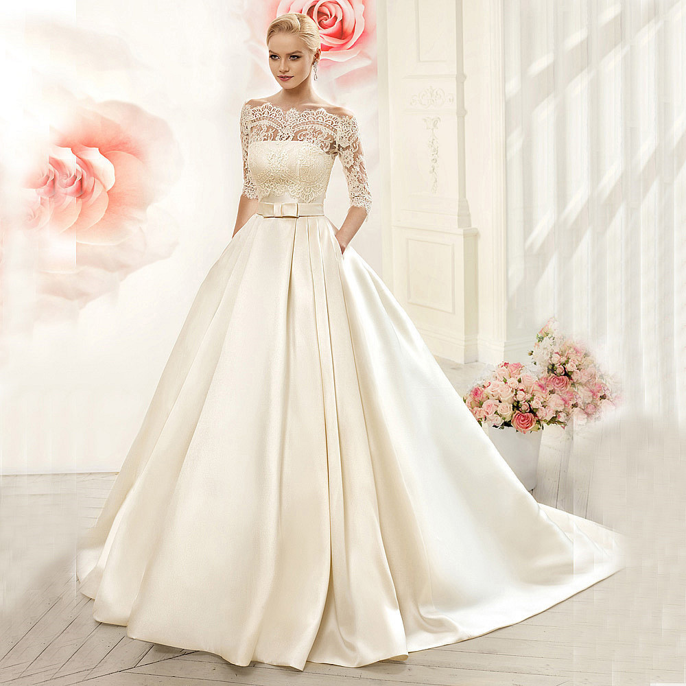 Satin with jacket see though 34 sleeves sweep train lace wedding satin with jacket see though 34 sleeves sweep train lace wedding dresse my wedding ideas ombrellifo Choice Image