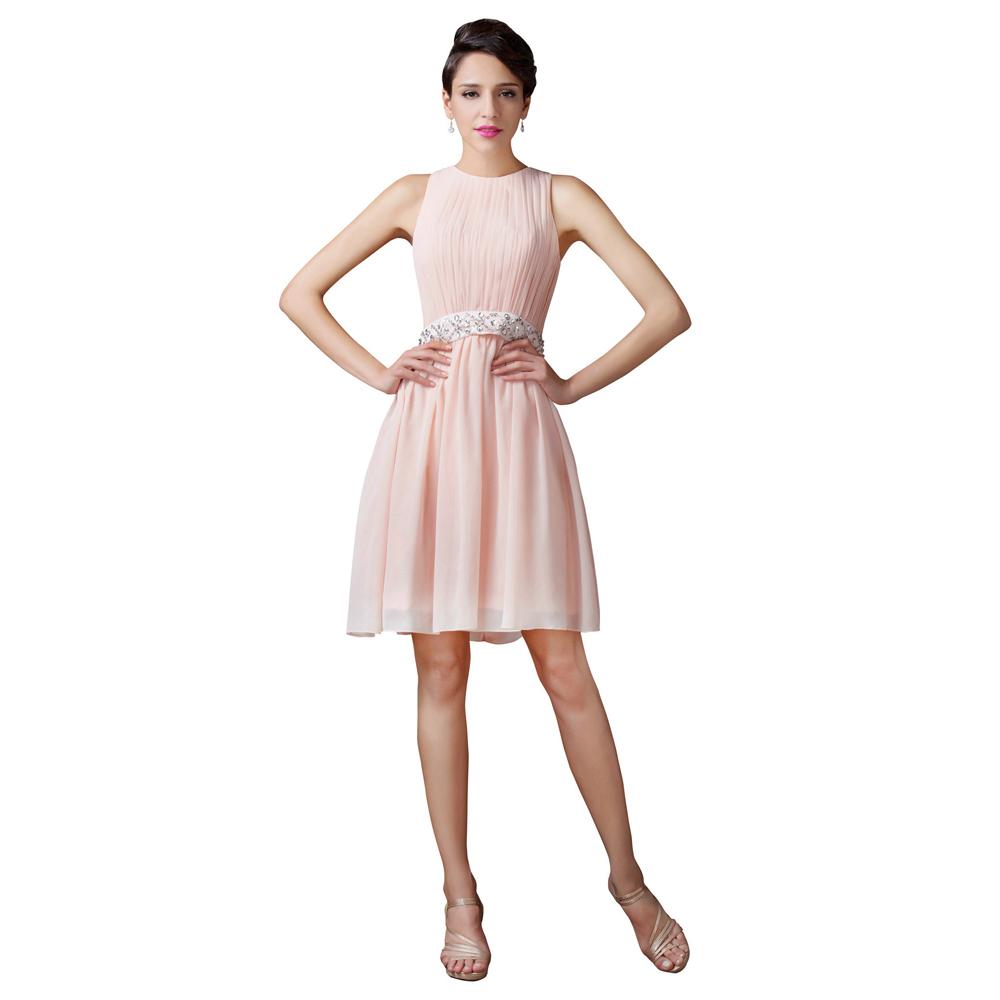 Sleeveless knee length light pink short bridesmaid dress for Light pink wedding guest dress