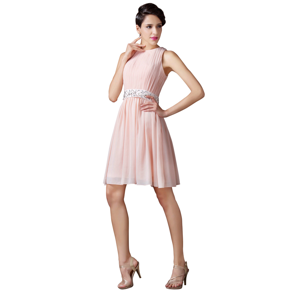 Pink Short Wedding Dresses : Knee length light pink short bridesmaid dress my wedding ideas