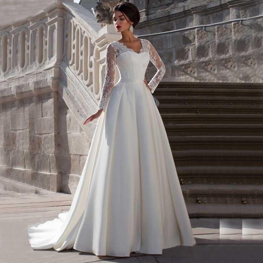 Long Sleeve V Neck Sheer Top Satin Lace Wedding Dress