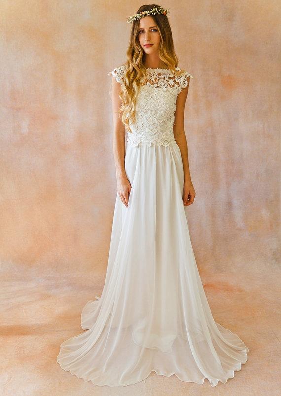 elegant a line cap sleeve lace backless boho wedding dress my wedding ideas. Black Bedroom Furniture Sets. Home Design Ideas