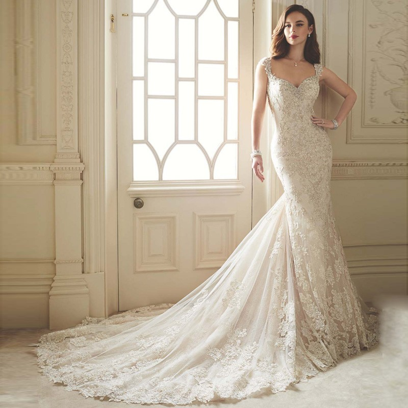 Lace Long Train Romantic Sweetheart With Beading Appliqued Tulle ...