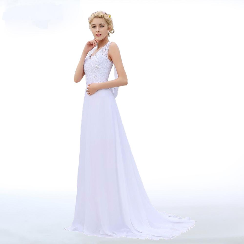 V neck empire chiffon beach wedding dress with appliques for Chiffon wedding dresses for beach wedding