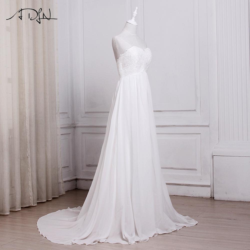 White ivory chiffon sweetheart a line beach wedding dress A line wedding dress ideas
