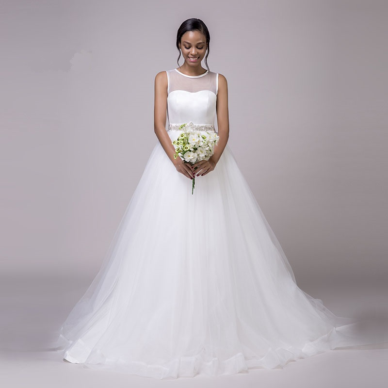 O-Neck Beaded Sashes Princess Tulle White Wedding Dress - My ...