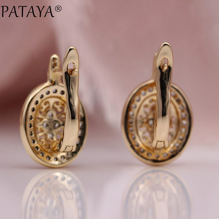 PATAYA New Micro Wax Inlay Hollow Drop Earrings Women Luxury Wedding Fashion Jewelry 585 Rose Gold Natural Zircon Flower Earring