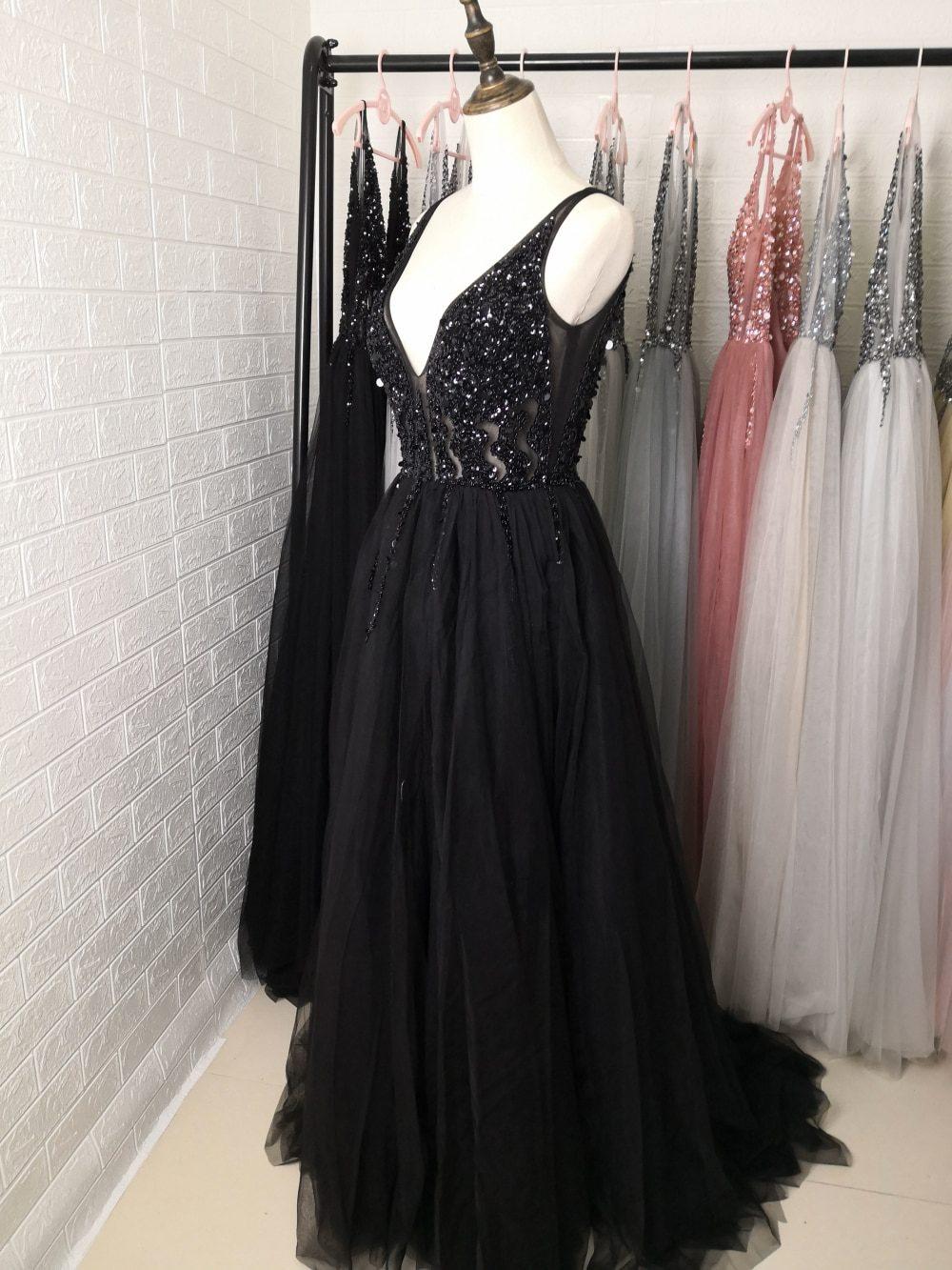 Sexy Deep V-Neck Side Split Long Evening Dress