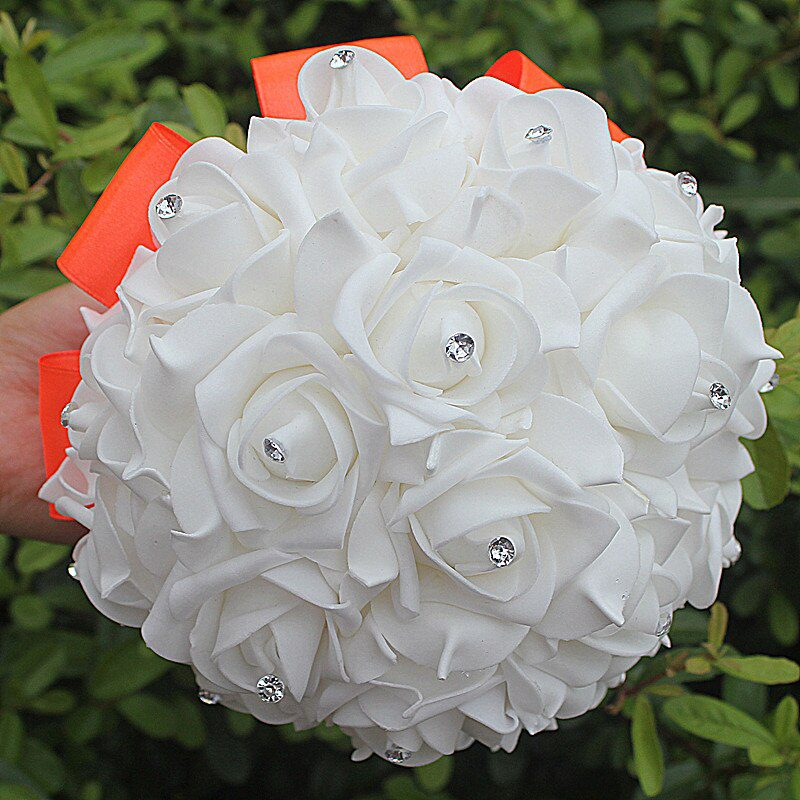 IN STOCK Cheapest PE Rose Bridesmaid Wedding Foam flowers Rose Bridal bouquet Ribbon Fake Wedding bouquet de noiva 14 Color