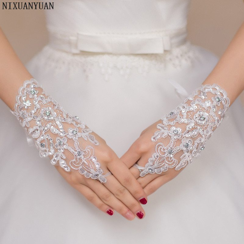 Elegant Beaded Lace Satin Short Bridal Gloves 2020 Fingerless Wedding Gloves White Ivory Wedding Accessories Veu De Noiva
