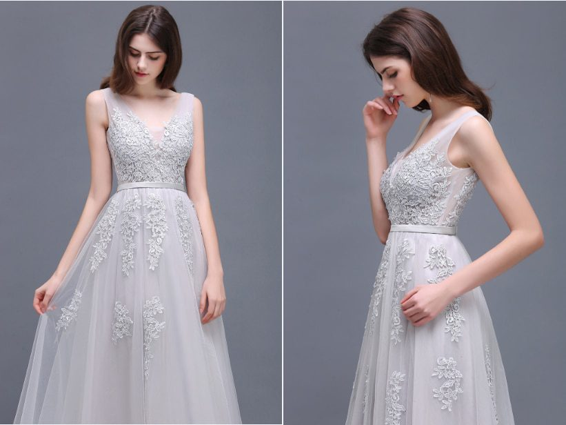 In Stock Double V Neck Lace Long Evening Dress Robe De Soiree Chiffon Evening Prom Gowns with Pearls Evening Party Dresses
