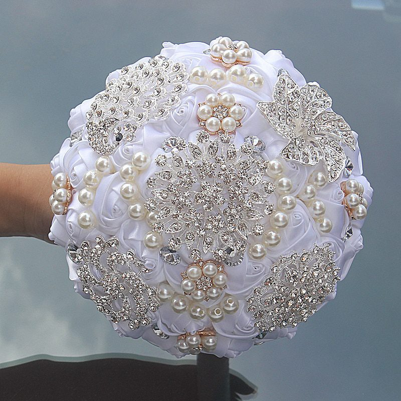 16styles new white wedding bride holding flowers artificial bouquet ribbon rhinestone pearl bouquet decoration bride groom dance