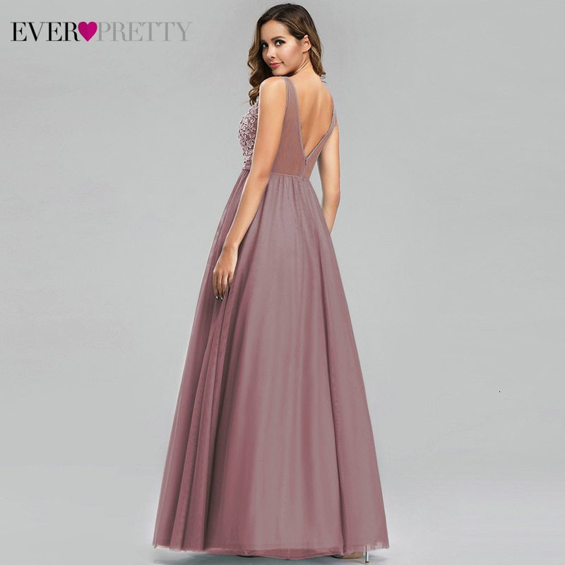 Ever Pretty Tulle Bridesmaid Dresses Women V-Neck Appliques Elegant Long Dresses For Wedding Party EP00930 Vestidos De Madrinha