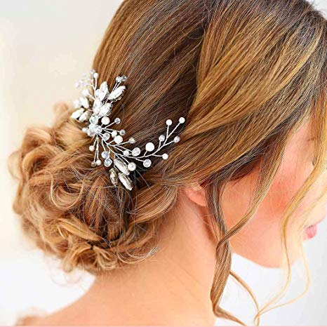 YouLaPan HP103-1 wedding hair accessories pearl bride headband pearl wedding headpieces for bride Bridal pins wedding clips
