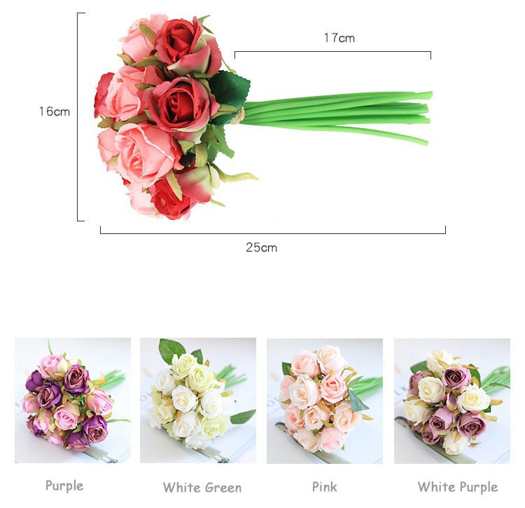 12 Heads Wedding Bouquet White Green Rose Artificial Bridal Bouquet Blue Wedding Accessories Bridesmaids Flower Mariage Supplies