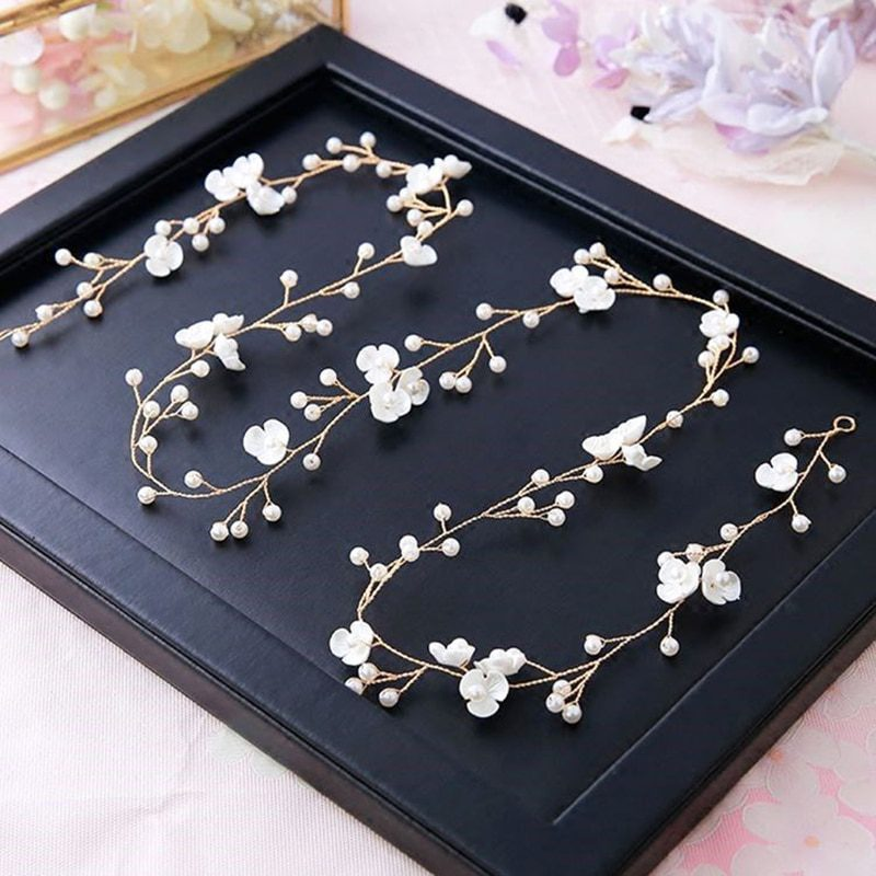 Bridal Wedding Crystal Bride Hair Accessories Pearl Flower Headband Handmade Hairband Beads Decoration Hair Comb For Women