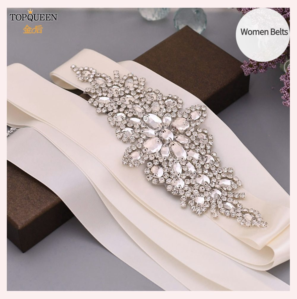 TOPQUEEN S01 Luxury Women's Belt Wedding Belt Accessories Bride Bridesmaid Bridal Sashes Belts For Evening Party Prom Gown Dress