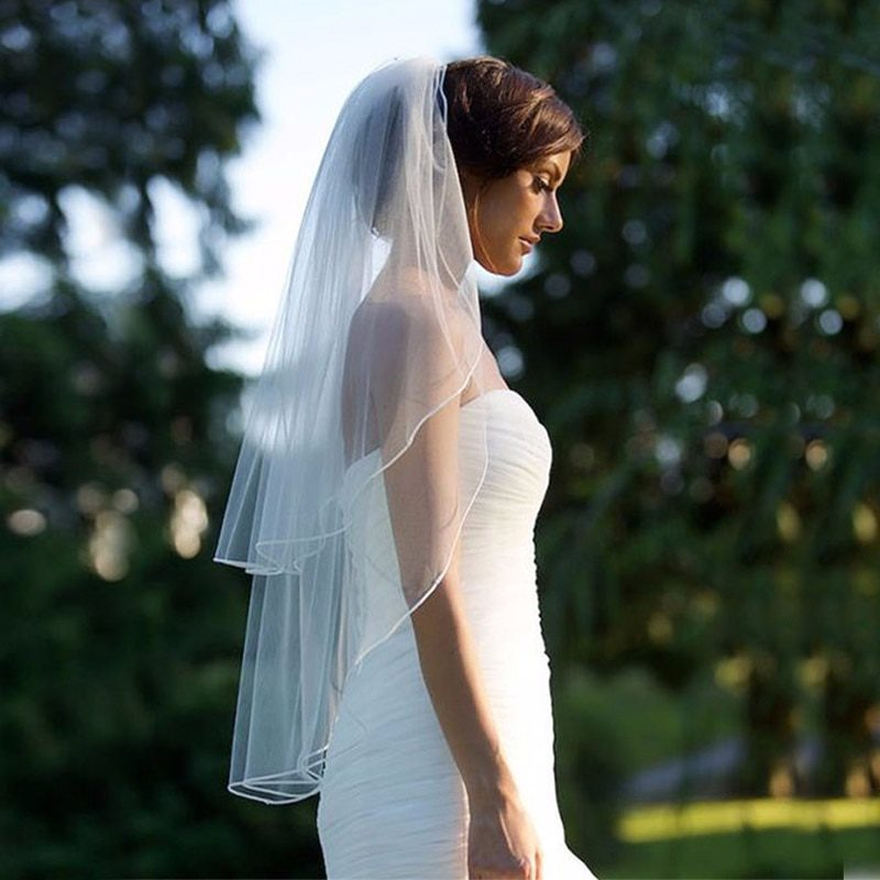 Two Layer Veil With Comb Wedding Vail Solid Color Soft Tulle Veil Short White Ivory Woman Bridal Veils 2019 veu de noiva curto