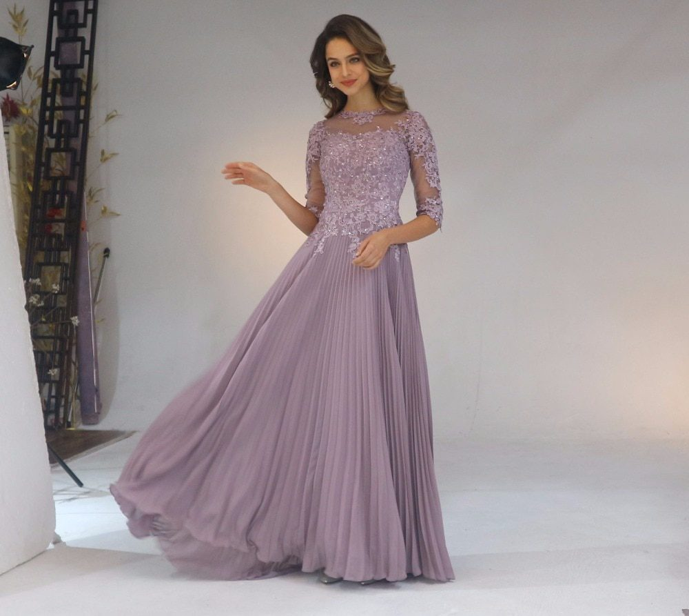 2020 Chiffon Pleated Lace Applique A Line With 1/2 Sleeves Mother Of The Bride Dress Long Vestido De Festa Longo