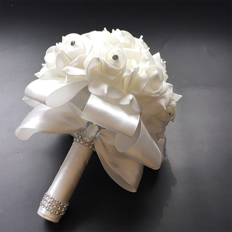 2019 Good Quality Cheapest PE Rose Bridesmaid Wedding Foam flowers Rose Bridal bouquet Ribbon Fake Wedding bouquet de noiva