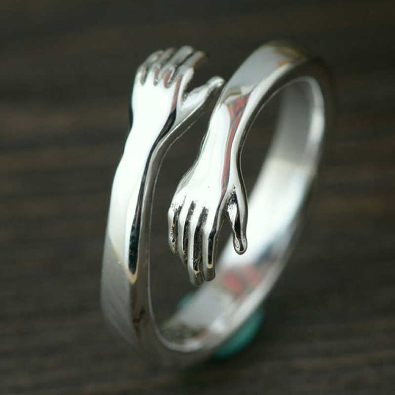 Bohemian Vintage Silver Color Hand Rings For Women Punk Big Antique Open Rings Statement Finger Jewelry