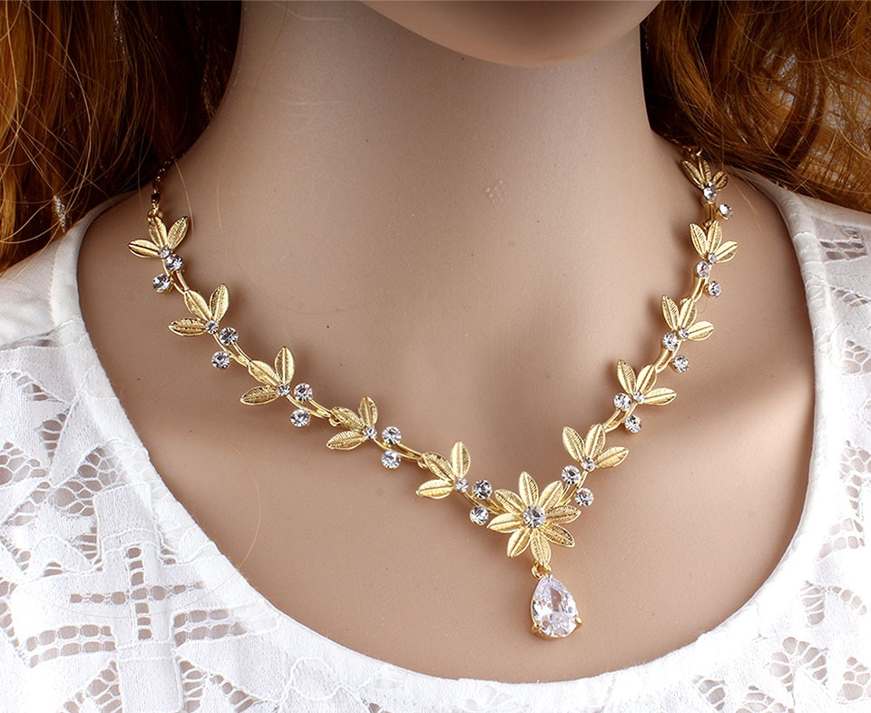jiayijiaduo Classic women's wedding jewelry set Gold Silver Color fine necklace earrings accessory gift dropshipping 2019 new