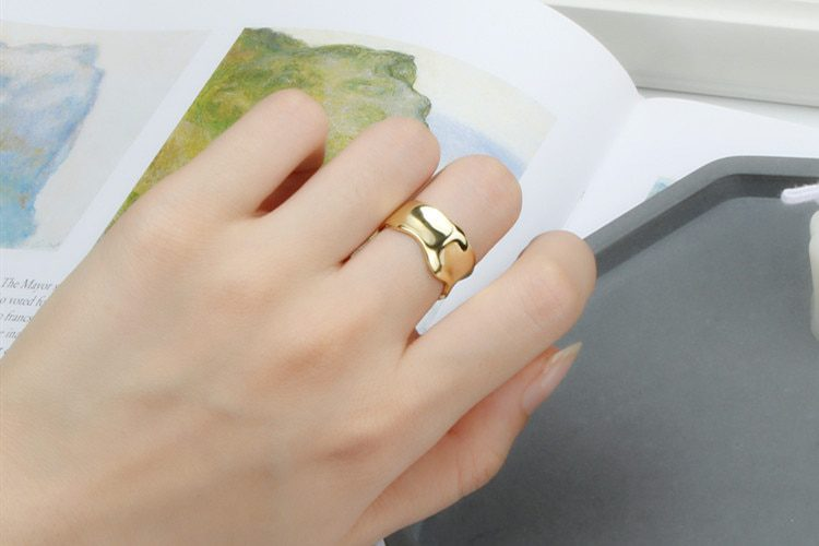 DreamySky Exaggeration Silver Color Geometric Irregular Rings For Women Big Antique Rings Finger Jewelry High Quality