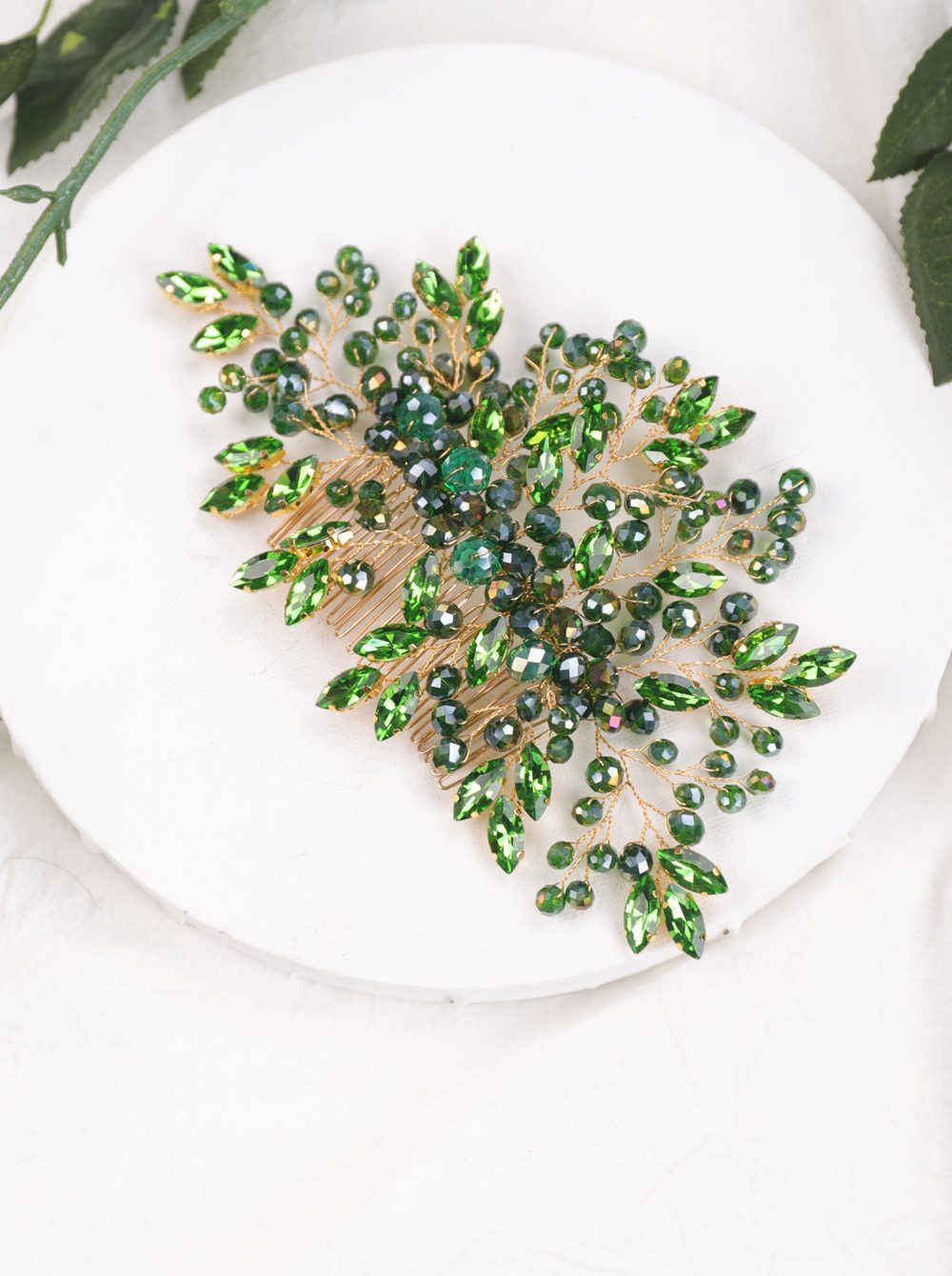 Bohemian Black Red Green Crystal Women Hair Combs Bridal Hair Accessories Wedding Hair Jewelry Head Decoration Hair Ornament